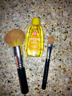 cleaning makeup brushes with baby shampoo. I actually asked an employee at Bare Minerals (the place I get my makeup and brushes at) about cleaning their brushes  and she said not to waste money on store bought brush cleaner rather just use baby shampoo!