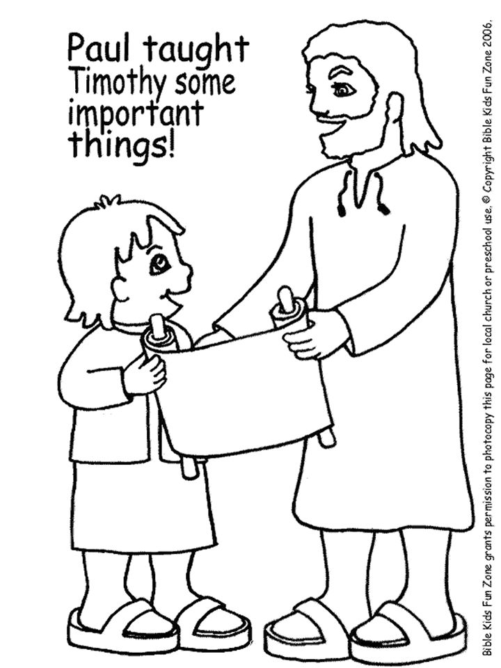 Sunday school coloring page, Paul teaching Timothyr ...