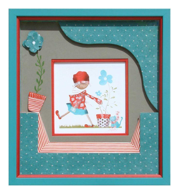 Pot de fleurs bleues réalisé par Marie-Anne en 2011 Biseau droit rouge autour de l'image avec un PP gris. Biseau perroquet en bas rayé rouge et blanc. Morceau de PP surélevé dans le coin haut droit. Pot de fleur et Fleur rajoutée sur le PP gris. La tige est peinte directement sur le PP.