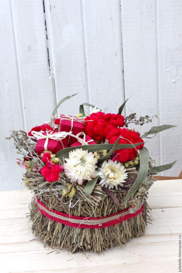 Купить Интерьерная композиция - бордовый, композиция из сухоцыетов, подарок на 8 марта, подарок для женщины