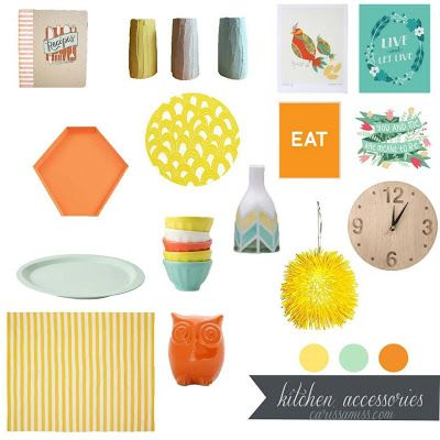 Living Pretty: July Inspiration Board Challenge: A Tangerine & Mint Office