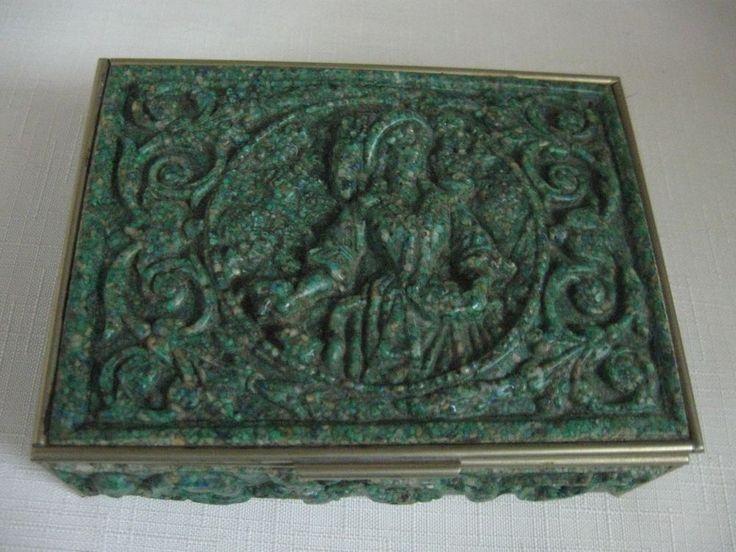 Mexican El Arte Azteca Turquoise Lapis Melachite Trinket Box Victorian Lady Lid