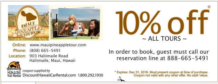 Maui Pineapple Tour Coupon