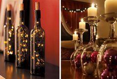 Centros de mesa para Navidad con copas y velas y botellas de vino y luces