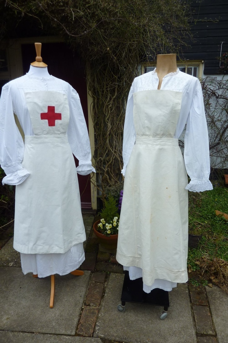 Two Vintage 1920s Nurses Apron Red Cross Etc Halloween