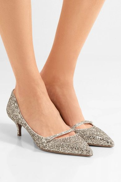 Tabitha Simmons - Layton Glittered Leather Pumps - Silver - IT