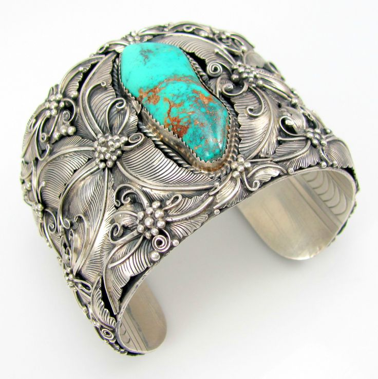Cuff | Artist unknown, (Navajo) . Sterling silver with Pilot Mountain Turquoise