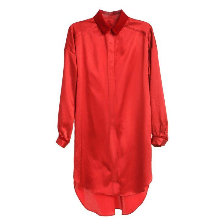 Red satin and velvet shirts dress #Red #satin #velvet #shirts #dress #Silk  http://shop.laurahincu.ro/product/dresses/red-satin-velvet-shirt-dress/