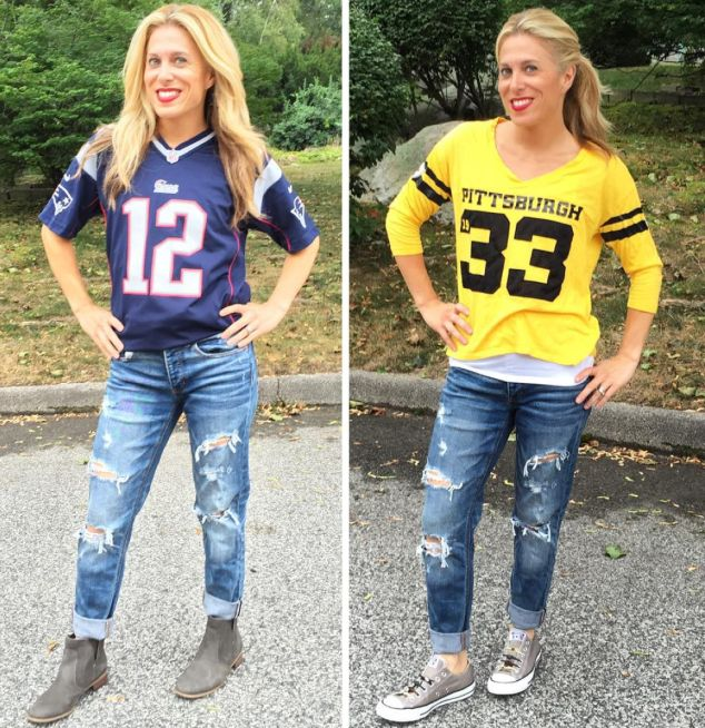 It's FOOTBALL TIME! This is how I really know summer is officially GONE! Tonight is the Patriots VS Steelers game at 8:30PM. I was born and bred a Patriots fan… but I married a Steelers guy (and have bred 4 devout Steelers fans, too!). This morning I created 2 different looks for the game – …