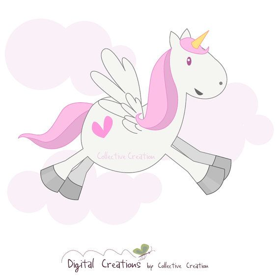 Cute Pegasus / Unicorn Digital Clipart by CollectiveCreation, $4.00