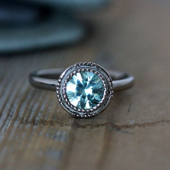 Blue Zircon Vintage Inspired Art Deco Gemstone Engagement Ring in 14k Palladium White Gold, Made To Order