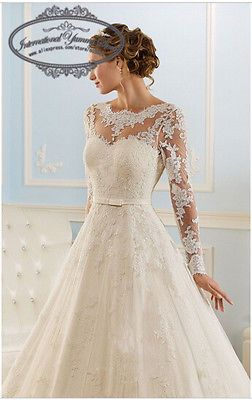 2015 tulle et dentelle robe de mariée robe de mariée à manches longues avec Appl