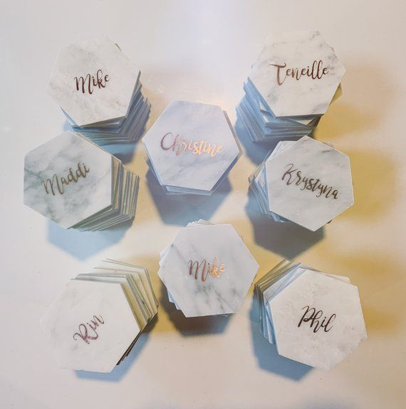 Hexagon Marble Coaster Place Card Name Card Bonbonierre Favour Gift Wedding Engage Wedding Coasters Favors Tea Wedding Favors Wedding Gift Favors
