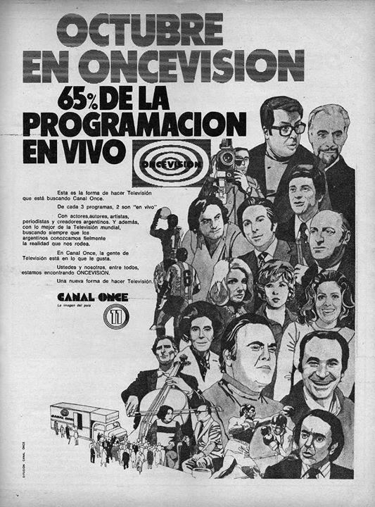 Publicidad de la programación de CANAL 11, Buenos Aires. Década del 70.