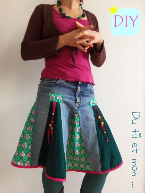 Recycler un vieux pantalon en jupe en rajoutant des tissus de votre choix (coton, imprimé ou non, velours ...) Des explications en photo.