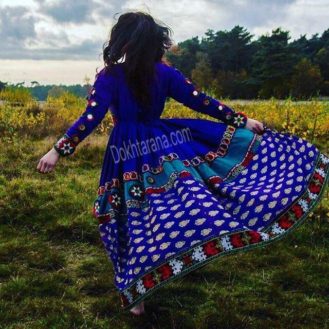 #blue #afghan #dress