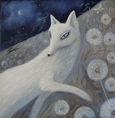 folk art fox...this is just beautiful!: Mo'N Davis, White Foxes, Karen O'Neil, Illustrations Art, Animal Illustrations, Art Animal, Silver Foxes, Acrylics Paintings, Karen Davis