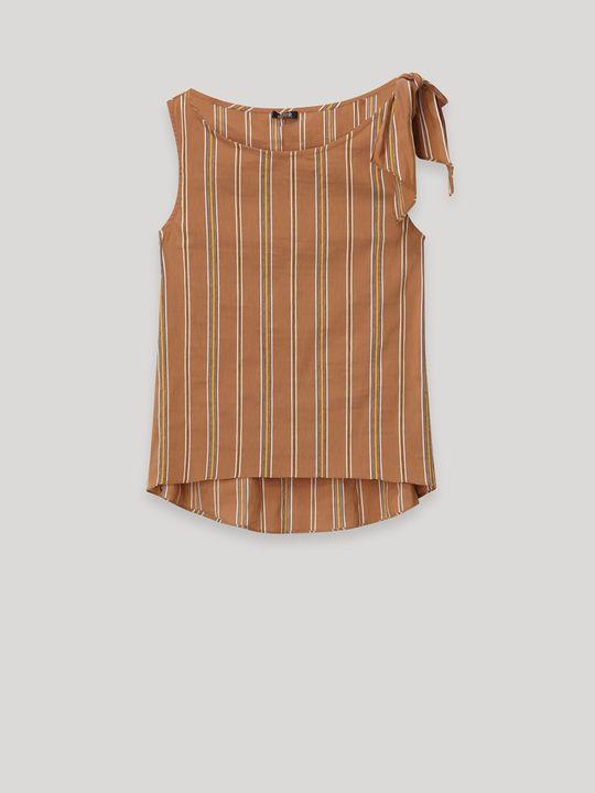 Top a righe con fiocco, colore Marrone - Indossato