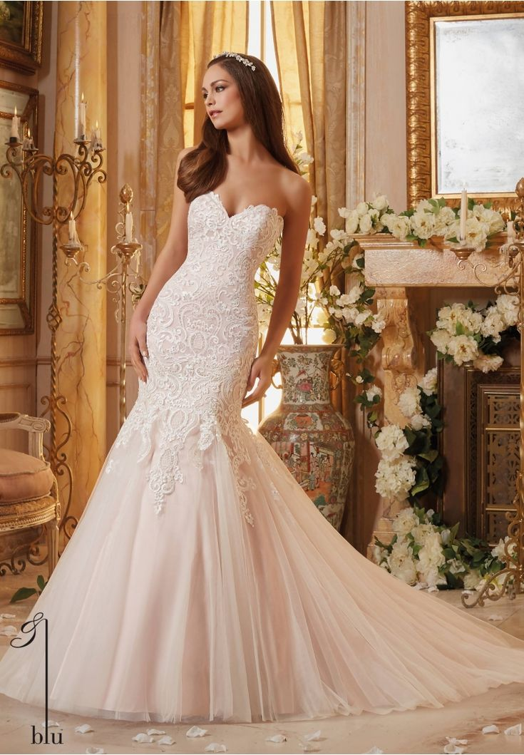 Best Mori Lee Beautiful ivory lace over blush fit and flare gown