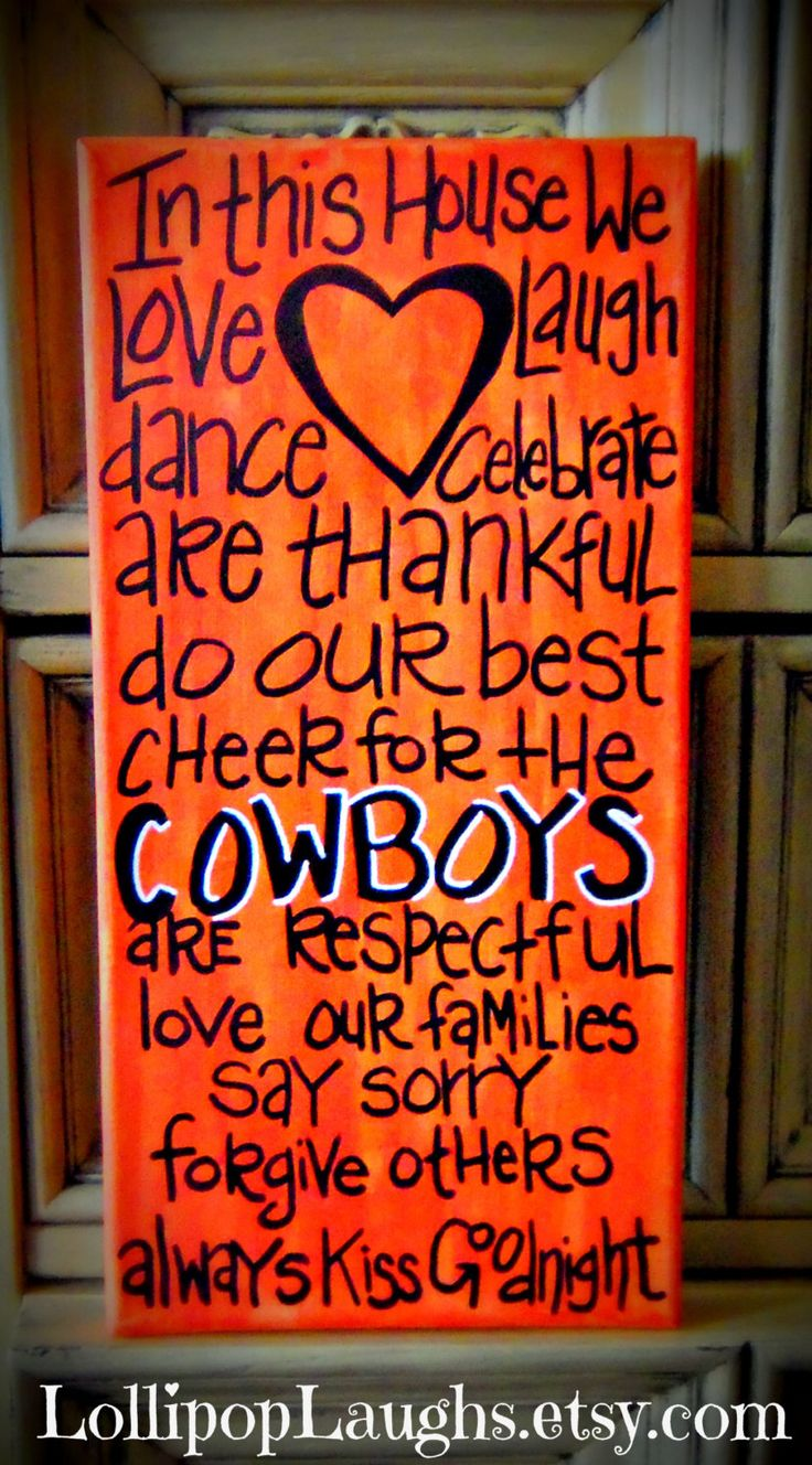 Oklahoma State, OSU Cowboys, In This House We hand painted sign. $17.00, via Etsy.>> Change it to Longhorns and hang it in my living room!!!  I see this in our future.  :)