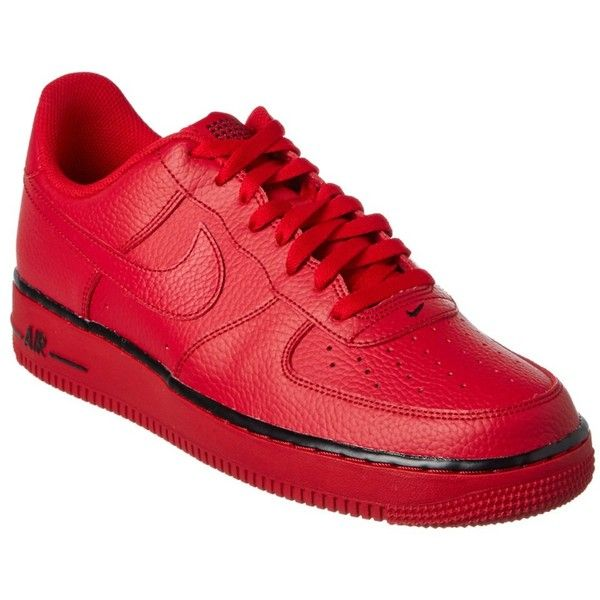 Nike Nike Unisex Air Force 1 07' Sneaker ($84) ❤ liked on Polyvore featuring shoes, sneakers, red, unisex sneakers, lace up shoes, grip shoes, red lace up shoes and red trainers