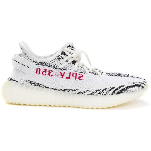 Yeezy Yeezy Boost 350 v2 ($220) ❤ liked on Polyvore featuring shoes, black and white shoes, zebra print shoes, white and black shoes, zebra shoes and zebra striped shoes