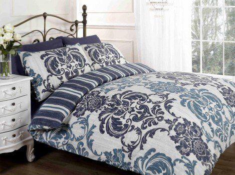 Elysee Navy Flowers Patterned Duvet Cover Quilt Bedding