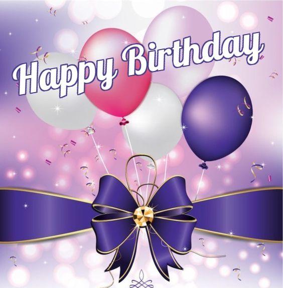 Happy Birthday Purple Ribbon Pink Balloons