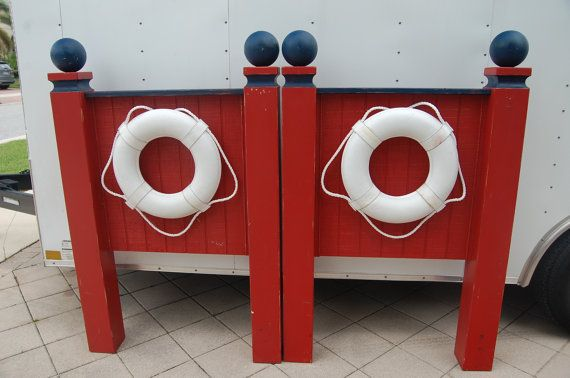Nautical Twin Headboards Over 5 Feet TALL Navy - Red - White Cottage Beach Sailor Style at Retro Daisy Girl on Etsy, $225.00