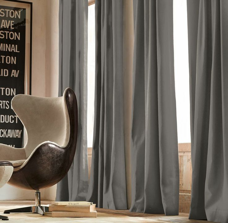 for the windows we went with this restoration hardware brushed cotton twill drapery in fog