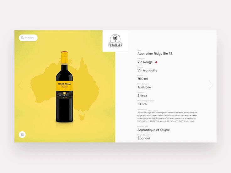 Wine catalog browsingWhile working on a project recently i needed to come up with a full page showcase for detail cards that had a strong focus on the actual products and a simple navigation pattern between products.Hope you'll like the animation and …