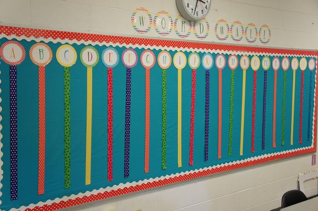 Use ribbons to create a content area word wall
