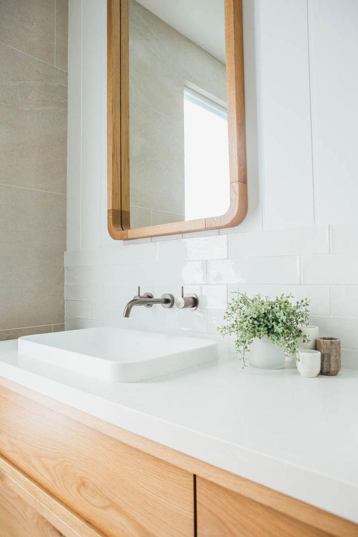 Kyal & Kara Long Jetty Reno. Timber Vanity & Wall Mirrors designed by Kyal & Kara and custom made by Loughlin Furniture.