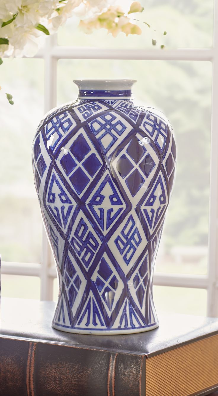 Classic ceramic vase with blue geometric motif