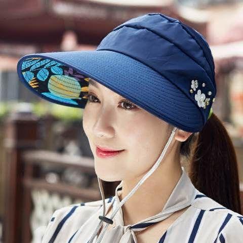 Summer UV sun visor hats for women with flower protection hats