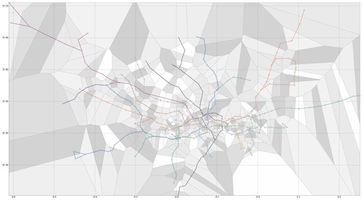 London Tube Map with Voronoi, showing closest station for every location in the city
