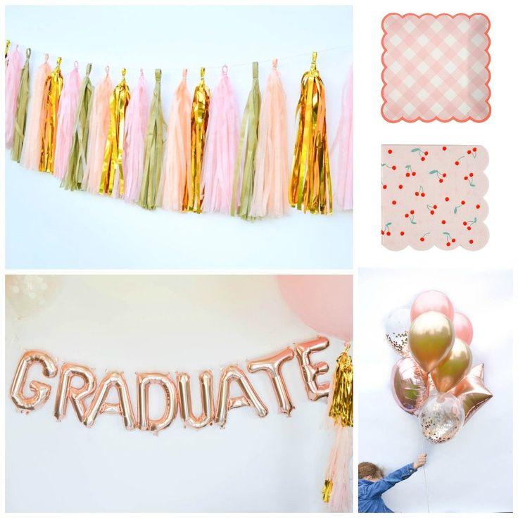 Graduate Balloons, Rose Gold Graduation Decorations