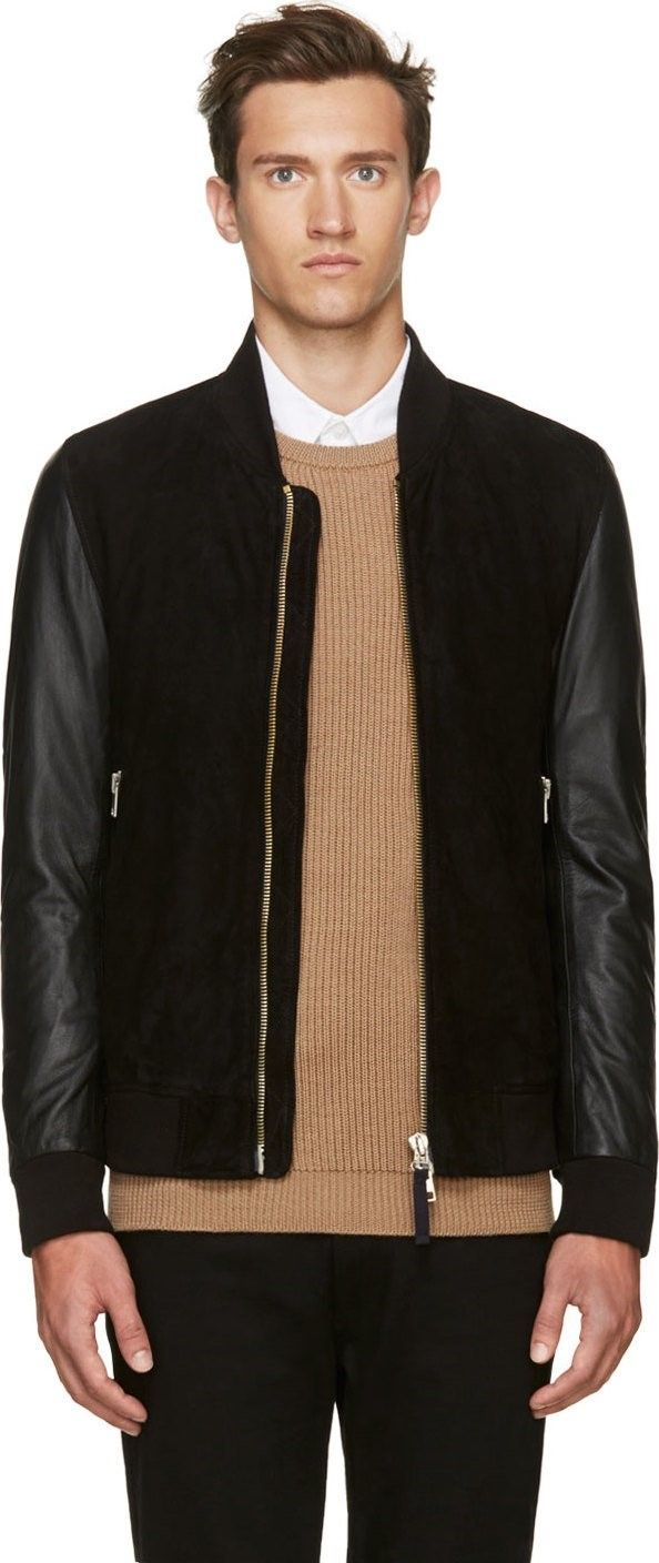 Black Suede & Leather Bomber Jacket by Paul Smith Jeans