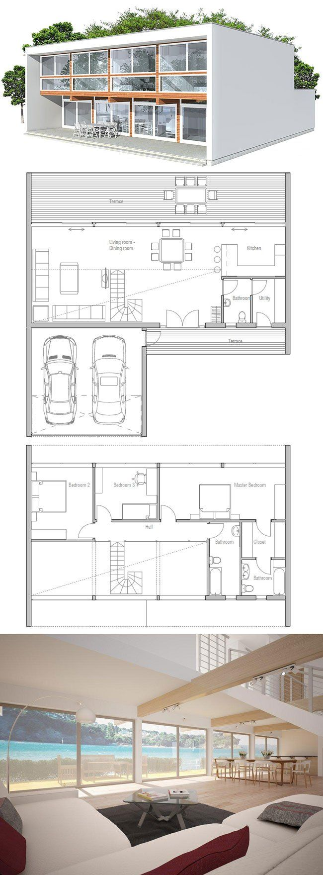 105 best architecture house plans images on pinterest home minimalist contemporary home plan want a bit bigger kitchen and min room good for flat lot with view greenbelt