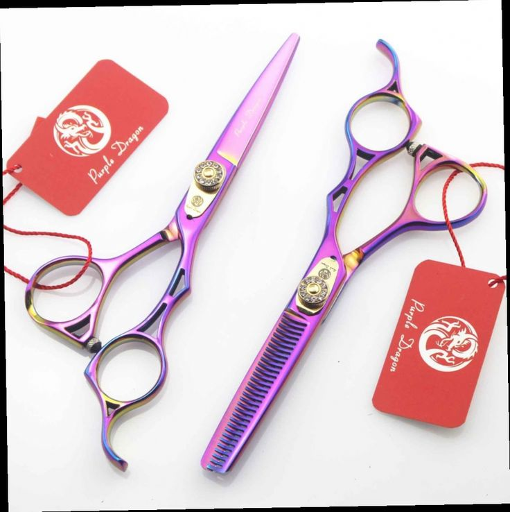 54.98$  Buy here - http://alieuv.worldwells.pw/go.php?t=32498909252 - 2pcs/set 5.5 inch Purple Dragon colorful personality hairdressing scissors barber scissors thinning scissors to send package 54.98$