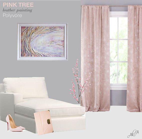 #pink #tree #leather #painting #homedecor #wallart #lilac #art #stylish #notebook #leatherjournal #artdecor #artnouveau #polyvore