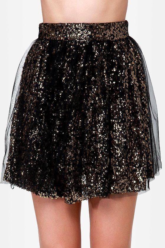 Pretty Tulle Skirt - Sequin Skirt - Black Skirt - Skater Skirt - $42.00