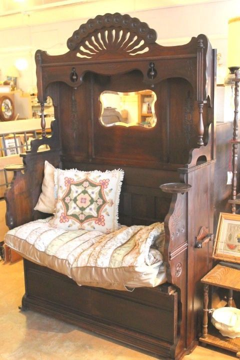 Reading nook or hall tree bench in dark walnut. Repurposed antique pump organ #Victorian #unknown