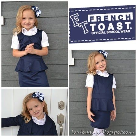 Lou  Lou  girls : French Toast, Official School Wear. Gracie looked adorable in these affordable pieces. It was only $11.98 for this sweet peplum jumper! I can't stand it! It's so soft and durable. Come see our review for this sweet website!