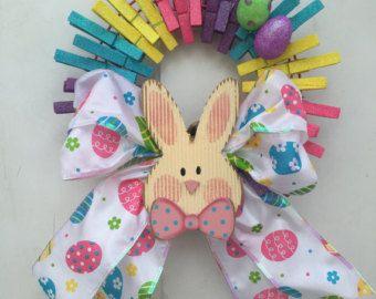 Couronne de lapin de Pâques, couronne de pince à linge