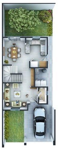 Planos de Casas y Plantas Arquitectónicas de Casas y Departamentos: Planta Arquitecónica modelo Diamante en Privadas Las Lomas Cumbres
