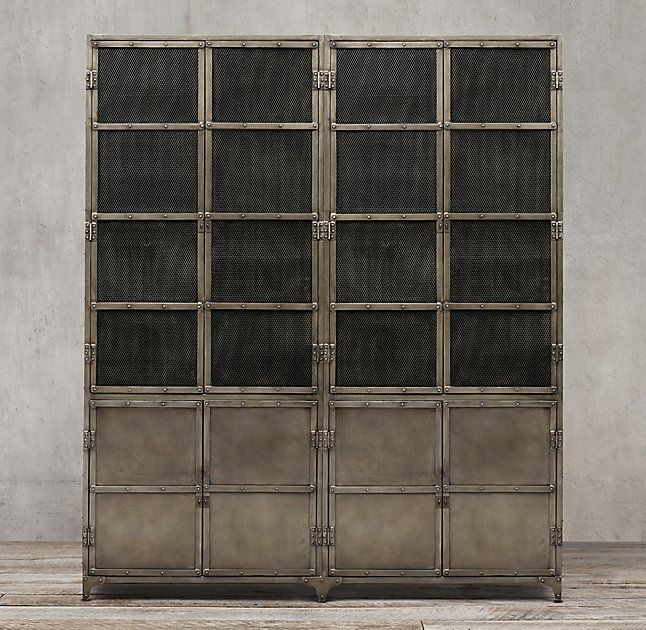 Industrial Tool Chest Panel 4-Door Sideboard & Mesh Hutch