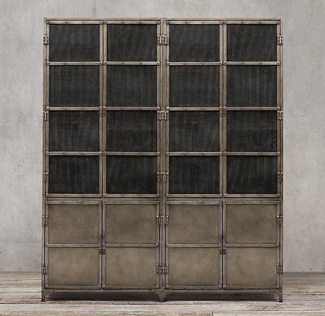 Industrial Tool Chest Panel 4-Door Sideboard & Mesh Hutch