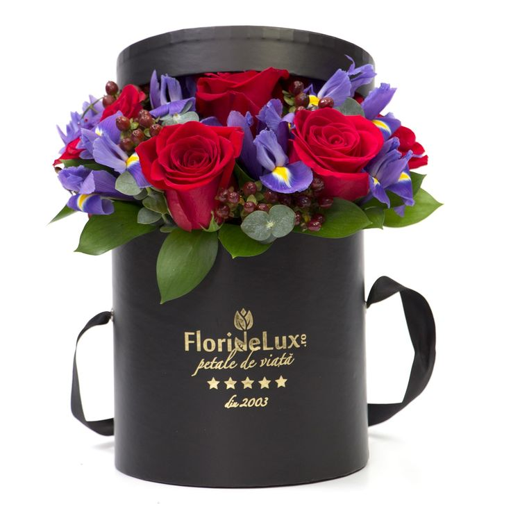 Blue iris and red rose box, special box for special someone! Free delivery for flowers to Romania!