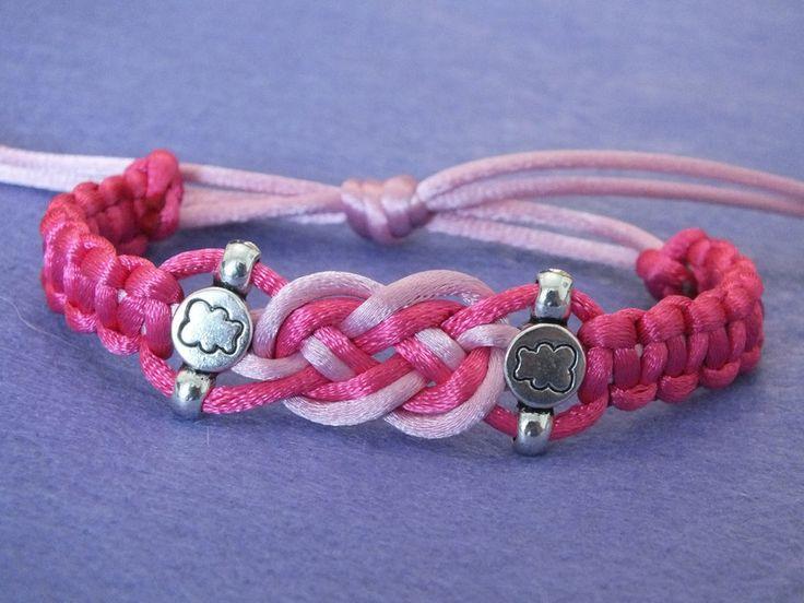 Pulsera de cola de ratón rosa, con nudos y cuentas de Hermitinas